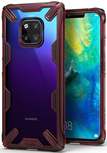 Ringke Fusion-X Designed for Huawei Mate 20 Pro Case Cover Clear Dot PC Back with Rugged TPU Bumper Anti Rainbow Effect (Straps Access Design) for Huawei Mate 20 Pro - Ruby Red