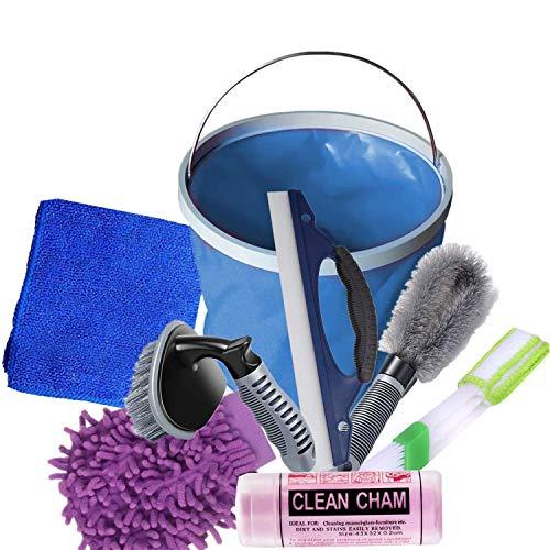 Kit de lavado de coche, 8 piezas de herramientas de limpieza de coches Motocycle – Guante de lavado, toalla de absorción de agua, paños de microfibra, raspador, cepillo, cubo de agua