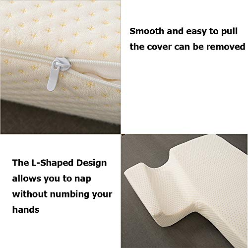 Memory Foam Pillow for Sleeping, Arched Cuddle Cervical Pillow for Neck Pain Relief, Bed Couples Side Sleeper Pillows for Eco Gel Arm Pillows for Sleeping (Right)