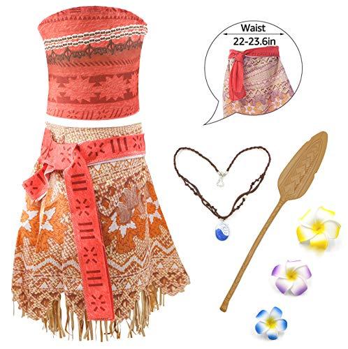 Moana Mädchen Kostüm Vaiana Prinzessin Kleid Abenteuer Verkleidung Rock Set Prinzessin Kleid mit Halskette ,Flower and Oar für Kinder Party Cosplay Halloween Geburtstag Karneval (150/7-8 Jahre)
