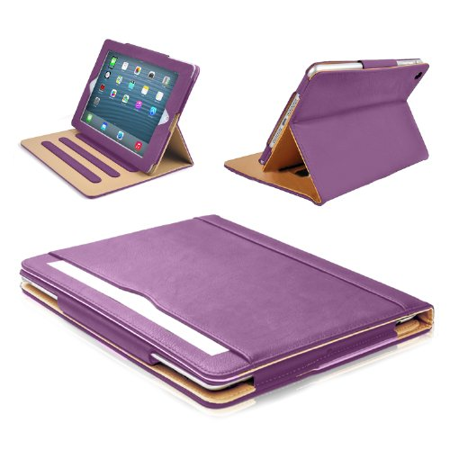 MOFRED New Purple & Tan 9.7 inch Apple iPad Pro (Launched 2016) Leather Case-MOFRED- Executive Multi Function Leather Standby Case for Apple New iPad Pro 9.7' with Built-in magnet for Sleep & Awake Feature -- Independently Voted by 'The Daily Telegraph' as #1 iPad Case! (For iPad Models A1673,A1674 and A1675)