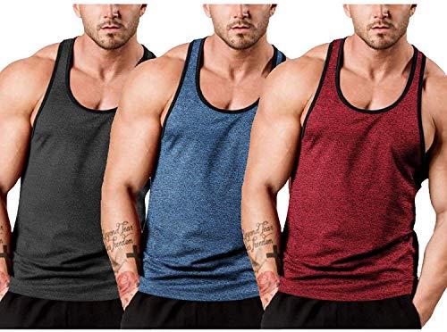 JINIDU - Pack de 3 Camisetas sin Mangas para Gimnasio para Hombre, Camiseta con Espalda en Y para Entrenamiento y músculos, Camisetas sin Mangas para Culturismo y Fitness