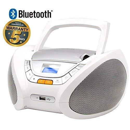 Lauson CD Portatile USB   Lettore Cd per Bambini   Stereo   Boombox Con Pratica Maniglia   CD/MP3 Player Portatili  AUX IN   LCD-Display (Bianco Bluetooth)