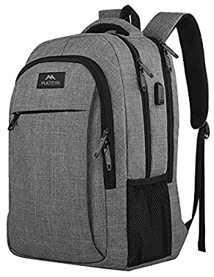 Travel Laptop Backpack, Business Anti Theft Slim Durable Laptops Backpack with USB Charging Port, Water Resistant College School Computer Bag Gifts for Men & Women Fits 15.6 Inch Notebook, Grey by YoTwo