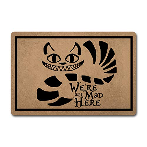 ZQH Mats Funny Welcome Door Mat We're All Mad Here Doormat Anime Theme Welcome mats Anti-Slip Mats Home Decor Welcome Mat Gift Door Mats For The Entrance Way Indoor 23.6'(W) X 15.7'(L)