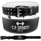 C.P. Sports Gewichthebergürtel Leder schwarz, Trainingsgürtel mit Größentabelle(XL/XXL)