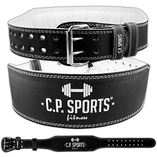 C.P. Sports Gewichthebergürtel Leder schwarz, Trainingsgürtel mit Größentabelle (L)