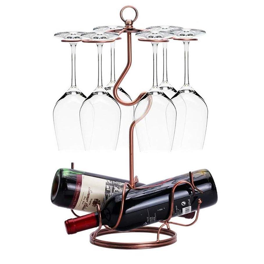 発症成熟した太鼓腹スクロールワークブロンズメタルワイングラスラックワイングラスカップホルダー6フック自立卓上脚付きグラスディスプレイラックワインボトルホルダースタンド (色 : ブロンズ, サイズ : ワンサイズ)