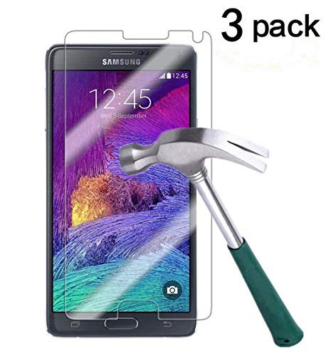 TANTEK YYY31 Bubble-Free, HD-Clear, Anti-Scratch, Anti-Glare, Anti-Fingerprint Premium Tempered Glass Screen Protector for Samsung Galaxy Note 4-3 Piece