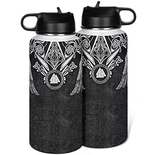 Tobgreatey Botella de agua de acero inoxidable con aislamiento al vacío, para deporte, con tapa abatible, paja, vikingo, Valknut Wolf Nudos, Fathurk, agua y café, color blanco, 4 1000 ml