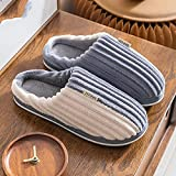 Pantuflas Hombre,Zapatillas para Hombre Invierno Gris Blanco Costura Pana Rayas Icono Cierre De Moda Suave Piso Cálido Zapatilla Zapatillas Mullidas Lavables Antideslizantes Interiores Zapatos Al A