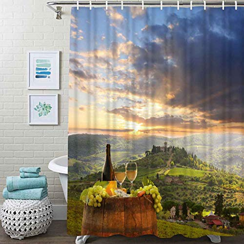 """Guftay Winery Shower Curtain, Vineyard in Chianti Tuscany Italy Autumn Sunrise Dramatic Clouds Curtain, Waterproof Fabric for Bathroom Decor Shower Curtains Set with Hooks, 72"""" X 78"""" Lime Green"""