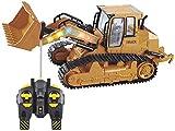 Wghz Simulación 1/12 RC Control Remoto Camión Bulldozer Construcción Tractor, Cargador Frontal Pista Ingeniería Coche 2.4Ghz 5CH Efecto de luz Fresca para niños Regalo para niños