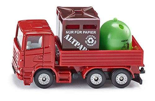 SIKU 0828, Recycling-Transporter, Metall/Kunststoff, Rot, Inkl. 1 Altpapier- und 1 Glas-Container