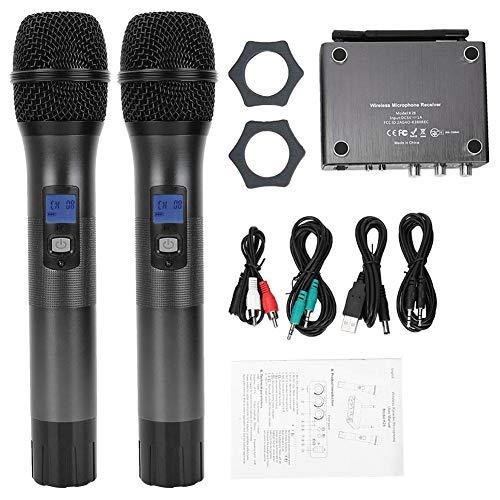 Aynefy KTV microfoon, draadloos, UHF dual microfoon, ideaal voor conferenties, karaoke, bruiloft buitenshuis, geluidsopname
