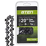8TEN Chainsaw Chain 20 inch Bar .050 Gauge 3/8 Pitch 72 Drive Links for Stihl Husqvarna Poulan Pro Johnsered (1 Chain)
