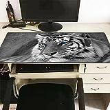 Alfombra de ratón XL para juegos PC / Mac portátil Gamer Gaming jugador Game Tigre negro y blanco ojos azules 60 x 30 cm