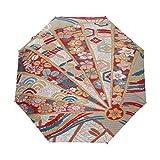 Flor De Arte Abstracto Paraguas Plegable Hombre Automático Abrir y Cerrar Antiviento Protección UV Ligero Compacto Paraguas para Viajes Playa Mujeres Niños Niñas