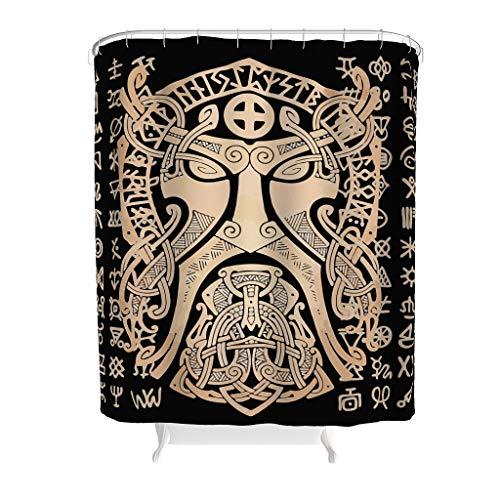 XHJQ88 Viking Mask Patroon Stijl Diversity Douchegordijn Retro Wasbare Badgordijnen Set met Haken - Viking voor Badkuip Decoratie