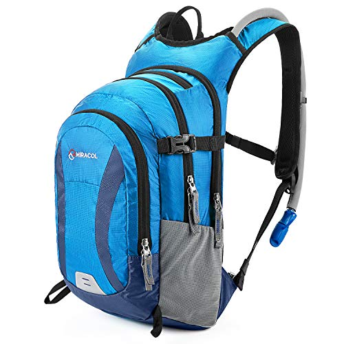 Miracol Hydration Backpack Packs with 2L Auto Shut-Off Water Bladder, Insulated Hydration Backpacks for Hiking, Cycling, Running, Climbing, Biking, Camping Gear Lake Blue