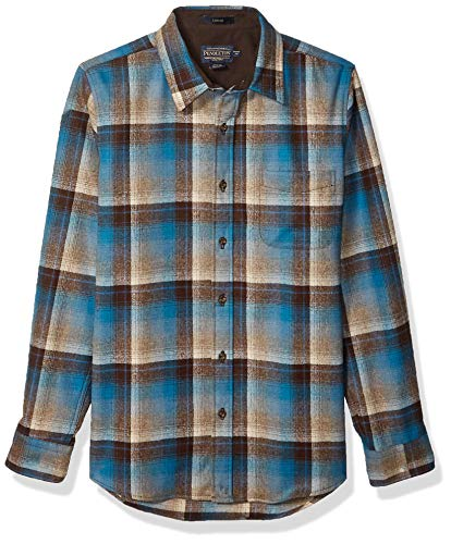 Photo of Pendleton Men's Long Sleeve Button Front Fitted Lodge Shirt, Brown/Blue Ombre, Large