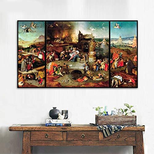 SDFSD Art Deco schilderij van Antonio Hironius Bosch Triptychon op de middenwand canvas 40x70cm