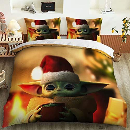 XIANMEI Baby Yoda Queen Bedding Set for Kids Christmas Star Wars Duvet Cover Bed Set 3 Pieces Xmas Comforter Cver