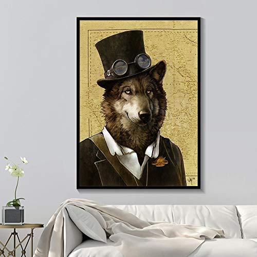 tzxdbh zwart en wit stijlvolle hond kat wolf vos muur kunst affiches en afdrukken dier het dragen van een hoed veer canvas schilderij huisdecoratie 70X100cm 21