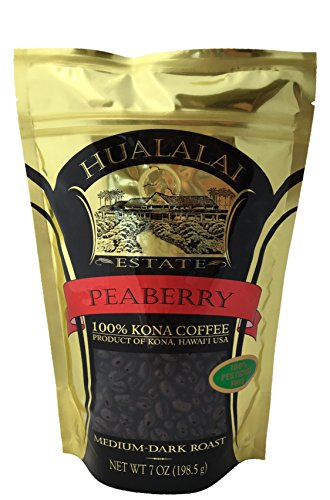 Hualalai Estate PEABERRY- 100% PREMIUM Kona Coffee - Medium-Dark Roast 7oz (WHOLE BEAN)