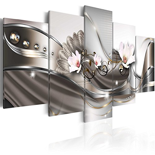 murando Acrylglasbild Abstrakt 200x100 cm 5 Teilig Wandbild auf Acryl Glas Bilder Kunstdruck Moderne Wanddekoration - Blumen Orchidee Perlen Ornament Silber Gold b-A-0073-k-p