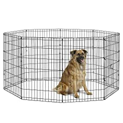 Exercise Pen has 8 connected panels (each panel 24W x 36H Inches) to create 16 SQFT living area|Playpen is ideal for intermediate dogs up to 23 inches tall Portable Exercise Pen is great for indoor & outdoor use | A black rust-preventive e-coat prote...