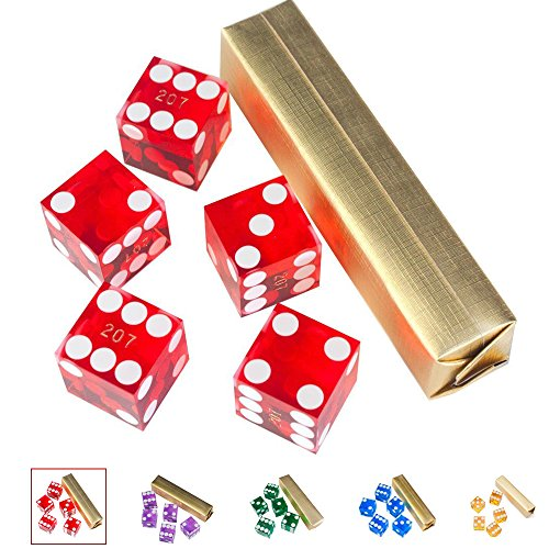 GSE Games & Sports Expert Set of 5 Poker Craps 19mm Serialized Casino Dice (Red)