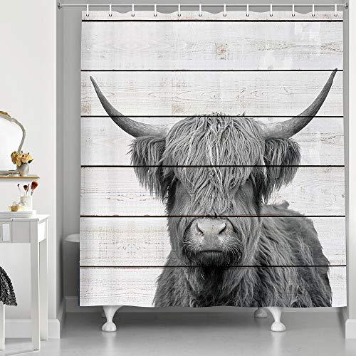 NYMB Hightland Kuh Duschvorhang für das Badezimmer, Bauernhof-Stil, rustikales Holz, grauer Duschvorhang, weißer & grauer Stoff, Duschvorhang-Sets mit Haken, 174 x 178 cm
