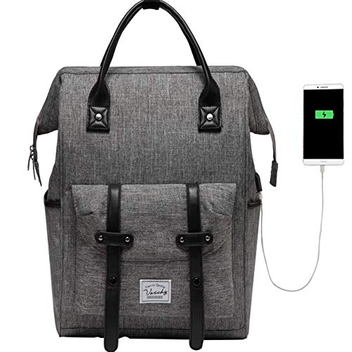 Laptop Backpack, VASCHY Water Resistant 15.6inch Anti-Theft Laptop Rucksack for Men and Women with USB Charging Port Vintage Daypack for Travel College Work (Charcoal Gray)