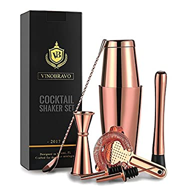 Boston Cocktail Shaker Bar Set By VinoBravo: 18oz & 28oz Weighted Shaker Tins, Hawthorne Cocktail Strainer, Double Jigger, 12'' Mixing Spoon, 7'' Drink Muddler and Recipes (Copper Rose Gold)