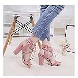 YUEXIANG Woms Open Toe Sandalias Redondo Toe Casual Single Shoes Chunky Tacón Tallar Tobillo Strapsape Strapy Party Tacones Altos,Pink-40