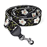CLOUDMUSIC Banjo Strap Guitar Strap For Handbag Purse Jacquard Woven With Leather Ends And Metal Clips(White Flowers)