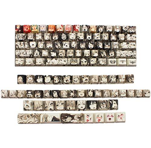 GTSP Anime Keycaps 60 Percent, 108 Kawaii Keycaps Full Set OEM 87 Key Cap Cover Dye Sublimation for Cherry Mx Gateron Kailh Switch Ducky one 2 Mini/Anne pro 2 Keyboard DIY