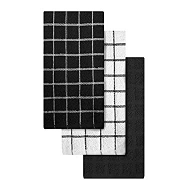 """Ritz 100% Cotton Terry Kitchen Dish Towels, Highly Absorbent, 25"""" x 15"""", 3-Pack, Black"""
