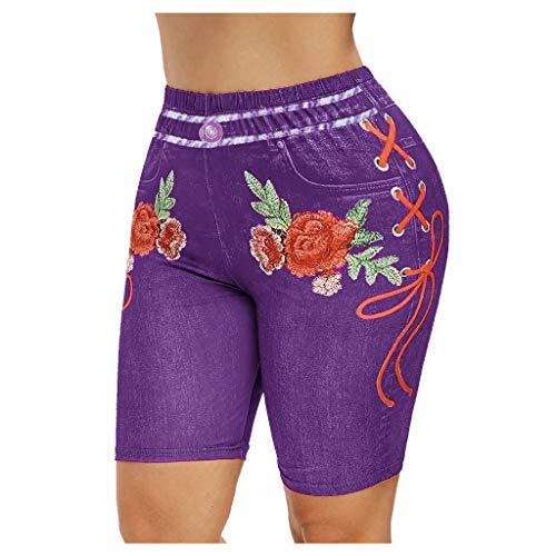 Leggings Yoga Shorts Femmes Basique Slip Bike Shorts Compression Workout Dames Leggings imprimés Collants de Sport (XXL,Violet)