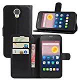 HualuBro Alcatel Pixi 4 (5 Zoll) 3G Hülle, Leder Brieftasche Etui Tasche Schutzhülle HandyHülle [Standfunktion] Lederhülle Flip Case Cover für Alcatel OneTouch Pixi4 5.0 Zoll 3G 5010D (Schwarz)