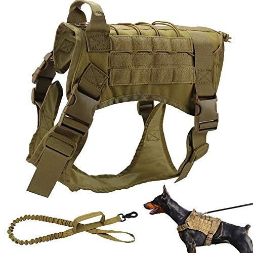 PJDDP Militärdienst Hundeweste Und Taktische Bungee Hundeleine,K9 Verstellbar Hundegeschirr Für Mittelgroße Und Große Hunde, Molle-Weste,Hundeausbildung Geschirr 1000D Nylon,Khaki,M