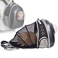 PETTOM 猫 キャリー リュック 宇宙船 拡張 カプセル 猫 キャリーバッグ リュック ペットキャリー 耐荷重7Kg 犬 猫 リュック ハード お出かけ お散歩 避難グッズ (ブラック新型)
