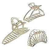 3 Piezas Pinzas Pelo Mujer, Grande de Metal Pinzas para el Cabello Pinzas para el Pelo Clip de Garra Antideslizante Grande, Accesorios para el Cabello para Mujer (Oro)