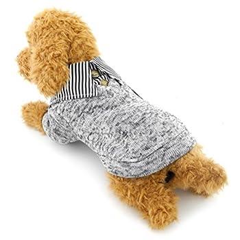 ZUNEA Pull à Rayures pour Petit Chien Chiot Manteau d'hiver Chaud Vêtements en Polaire Sweat-Shirt pour Temps Froid Pull-Overs Sweats pour Animal Domestique Chihuahua Yorkshire Gris M