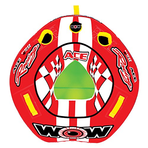 WOW World of Watersports Ace Racing Boat Tube 1 Person Inflatable Towable Tube for Boating, 15-1120