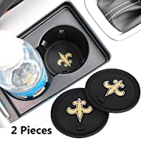 2 Pack 2.75 inch for New Orleans Saints Car Interior Accessories Anti Slip Cup Mat for All Vehicles (New Orleans Saints)