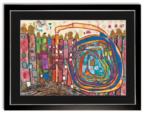 Kunstdruck Bild Hundertwasser Who has eaten all my windows Wohnzimmer Deko mit Rahmen 73x57cm PREIS-HIT!!