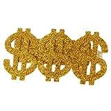 SM SunniMix Anillo de Signos de Dólar Estadounidense con 3 Signos de Dólar de Oro Brillante, Disfraz de Fiesta para Hombre, Rapero de Hip-Hop, Grande