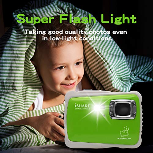 Waterproof Digital Camera for Kids, ISHARE 21MP Kids Camera 3M Underwater 2.0